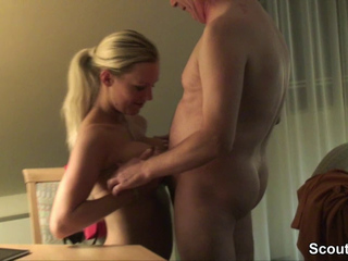Horny blonde getting fucked hard