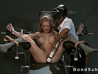 Strapped in gyno chair huge tits blonde pussy vibed