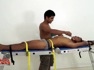 Gay Asian Twink Javey Tied Down and Tickled