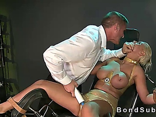 Huge tits blonde babe strapped and toyed