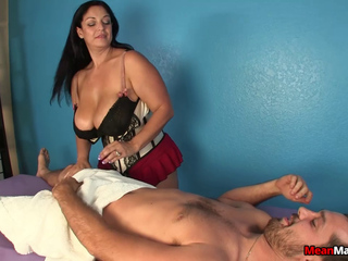 Bigtitted masseuse humiliating customer