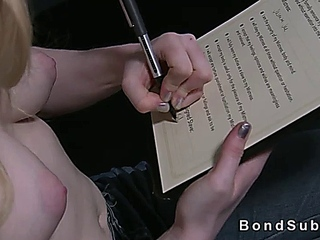 Tied up and spreaded blonde pussy toyed by mistress