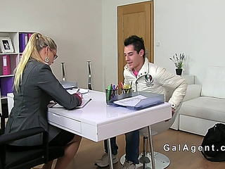Dude recording sex with female agent on casting