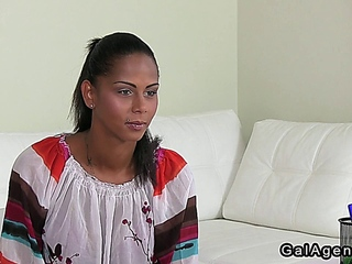 Huge tits female agent has lesbian sex on casting